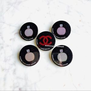 5pc Set Chanel Coco Game Center badge pins